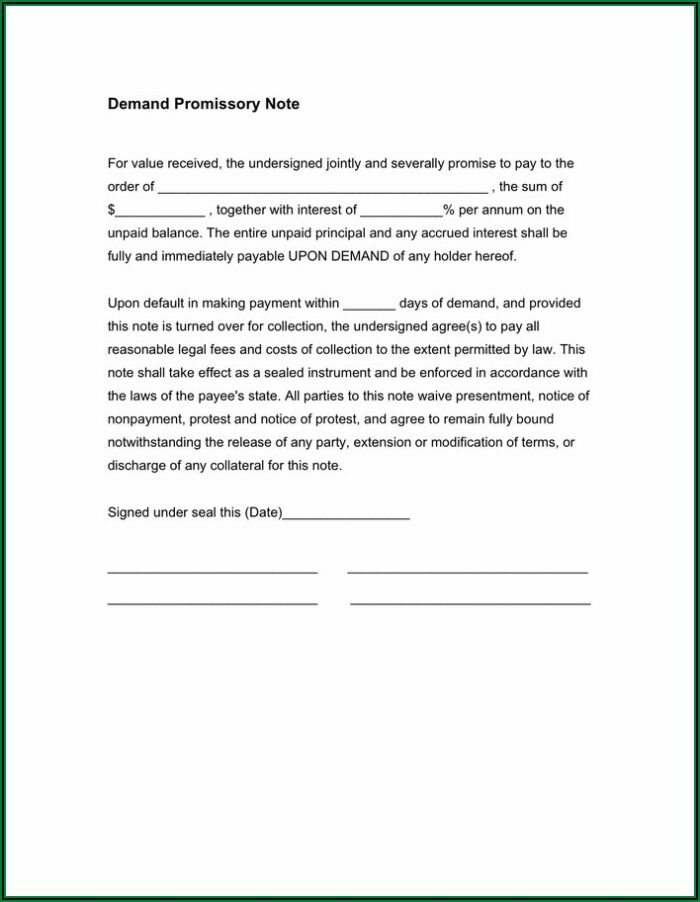 Demand Promissory Note Format In Word