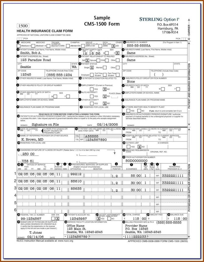 Dental Insurance Claim Form Pdf