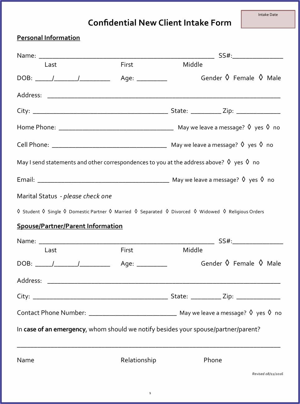 Divorce Client Intake Form California