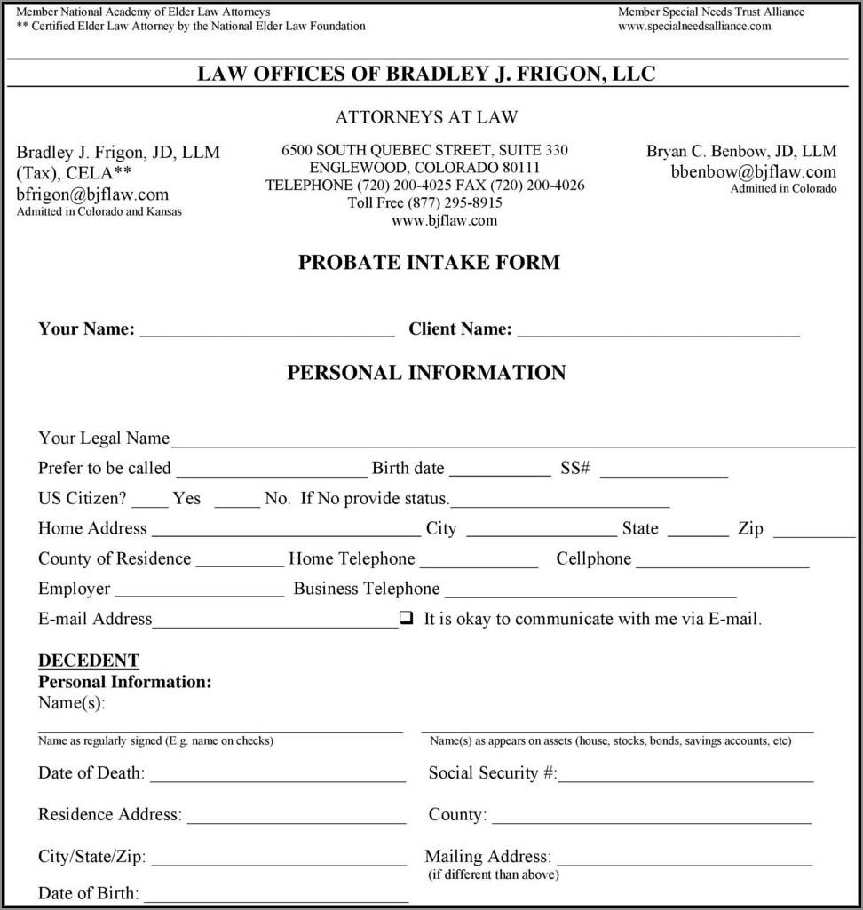 Divorce Intake Form Texas