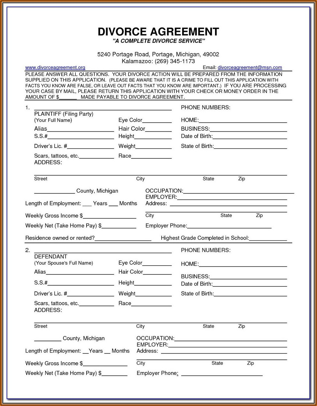 Divorce Ontario Forms
