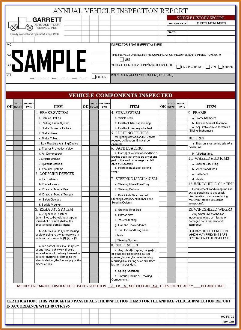 Dot Trailer Inspection Form Pdf