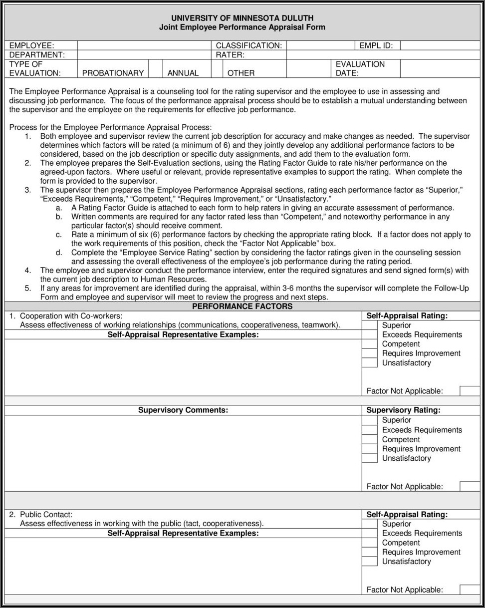 Employee Appraisal Form Free Download