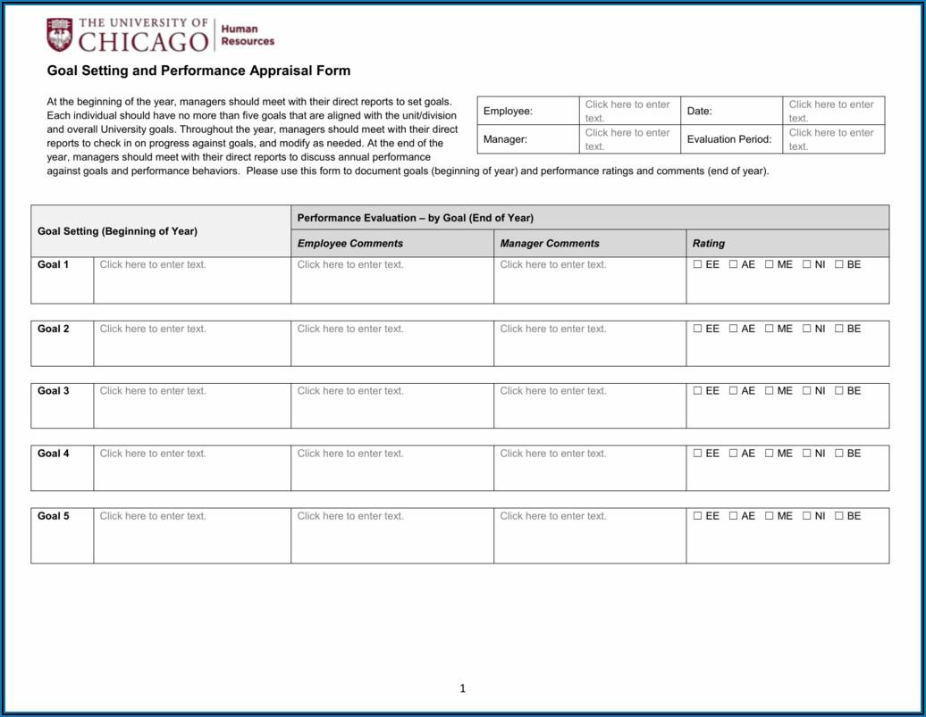 Employee Goal Setting Appraisal Form