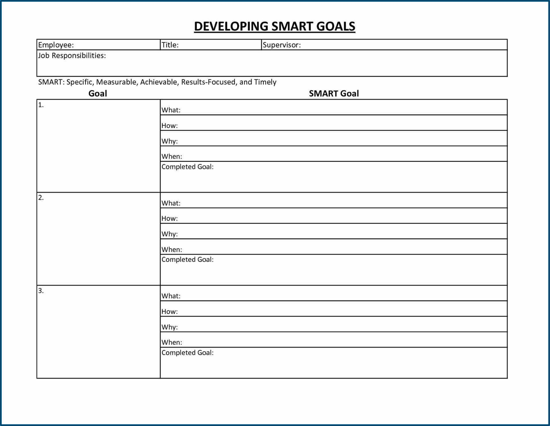 Employee Goal Setting Template Excel