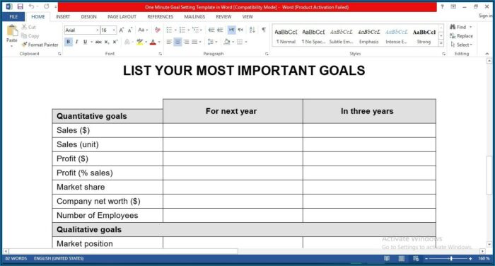 Employee Goal Setting Template Word
