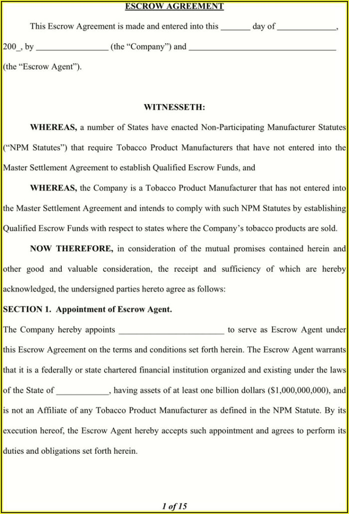 Escrow Agreement Template Free
