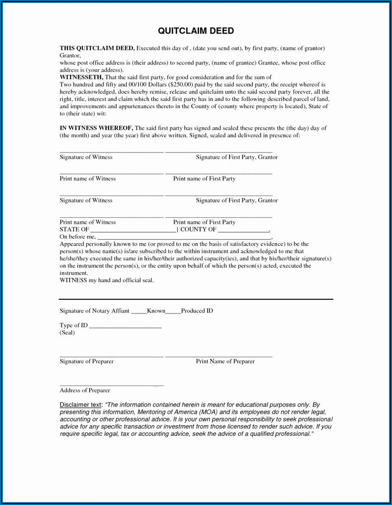 Example Quit Claim Deed Form