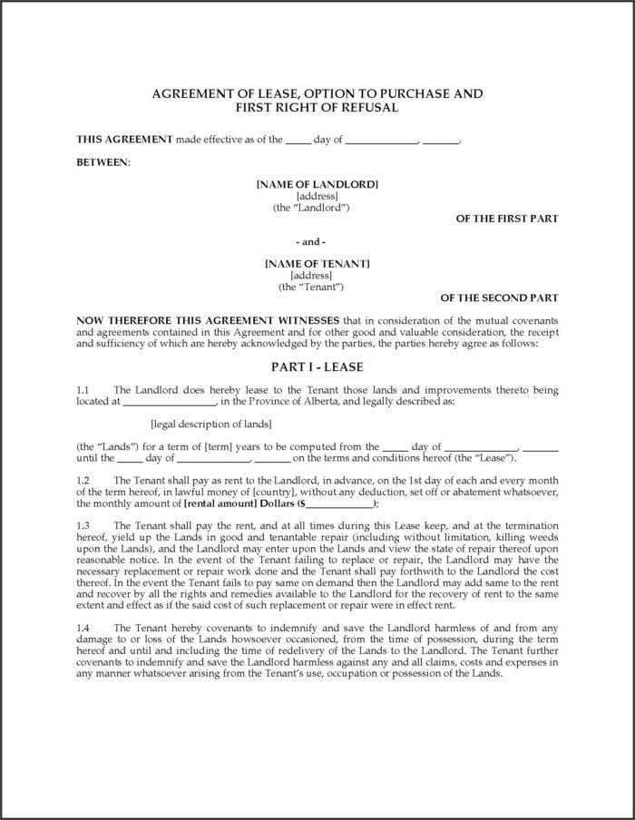 Farm Land Rental Agreement Template Alberta