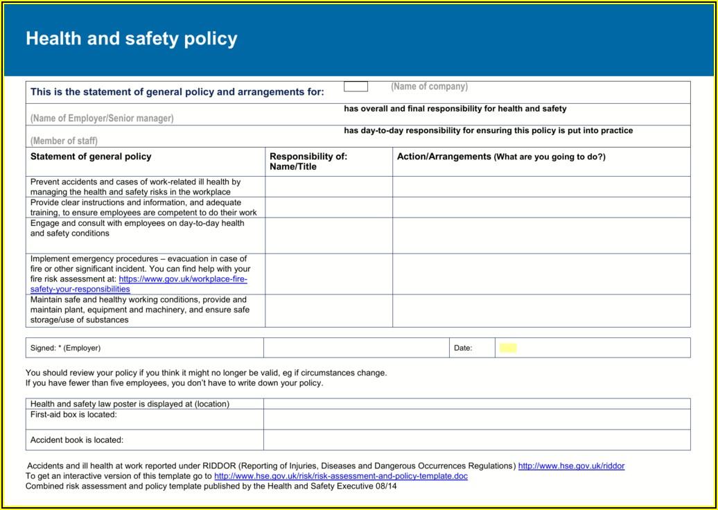 Fire Risk Assessments Templates Uk