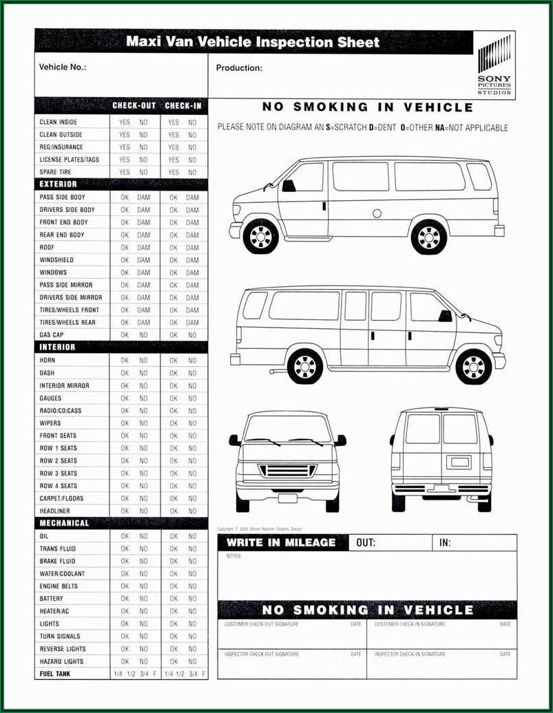 Fleet Vehicle Inspection Checklist Template
