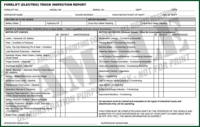 Forklift Checklist Example