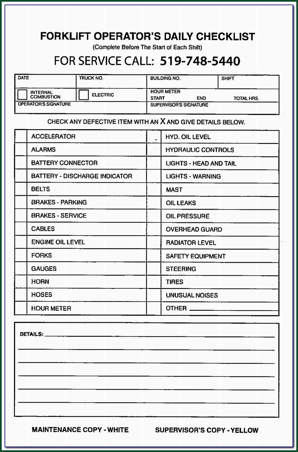 Forklift Checklist Template