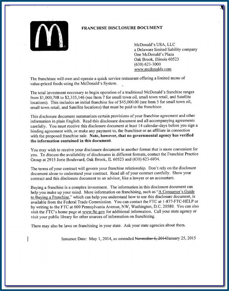 Franchise Disclosure Document Sample