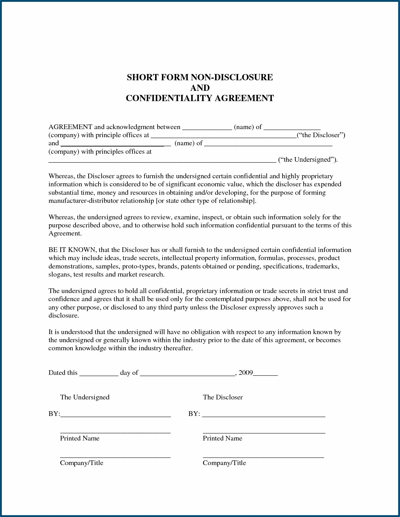 Franchise Non Disclosure Agreement Template