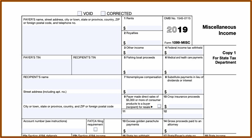 Free 1099 Misc Form 2019 Template
