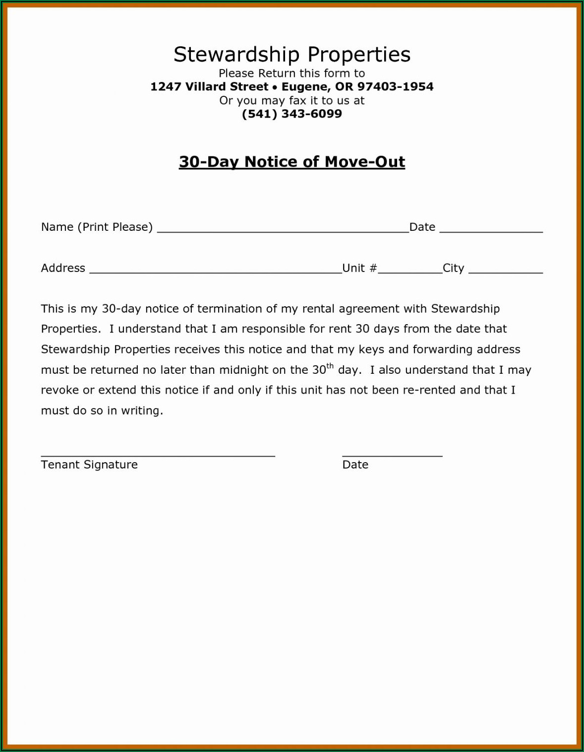 Free 30 Day Notice To Landlord Template Word