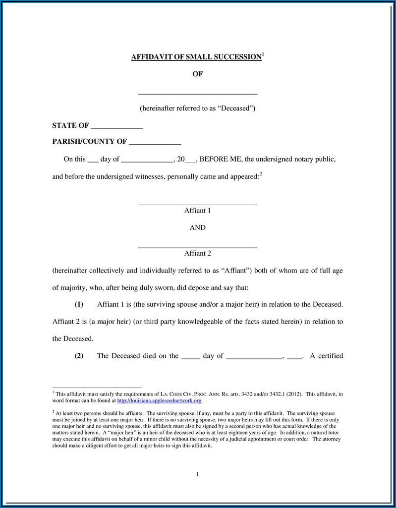 Free Affidavit Of Heirship Form Louisiana