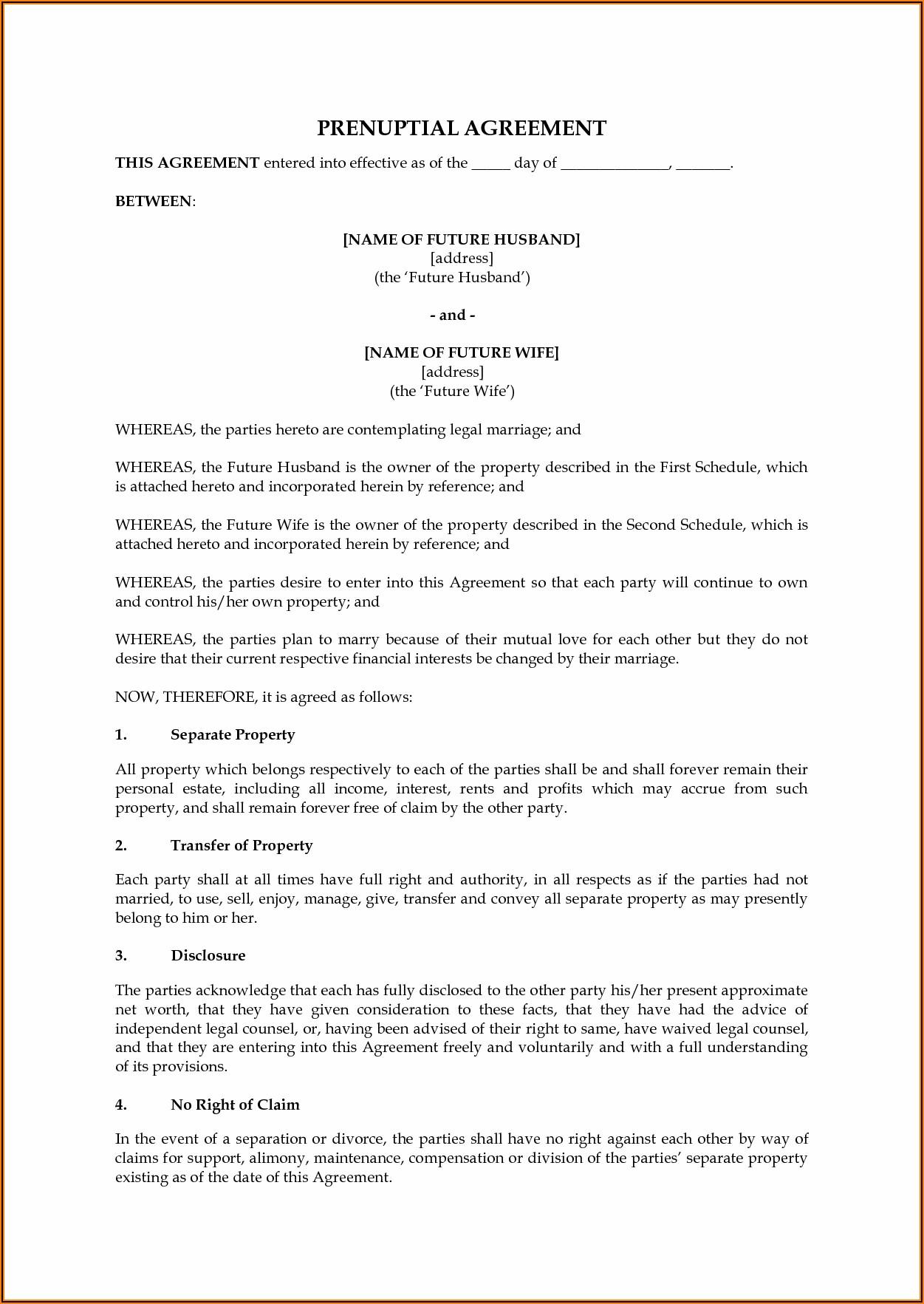 Free Basic Prenuptial Agreement Form