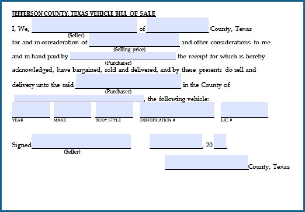 Free Bill Of Sale Form Texas Pdf
