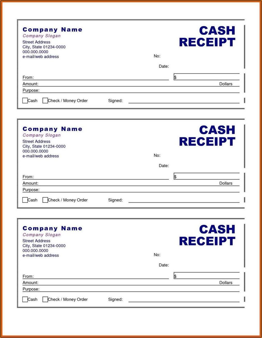Free Cash Receipt Template Printable