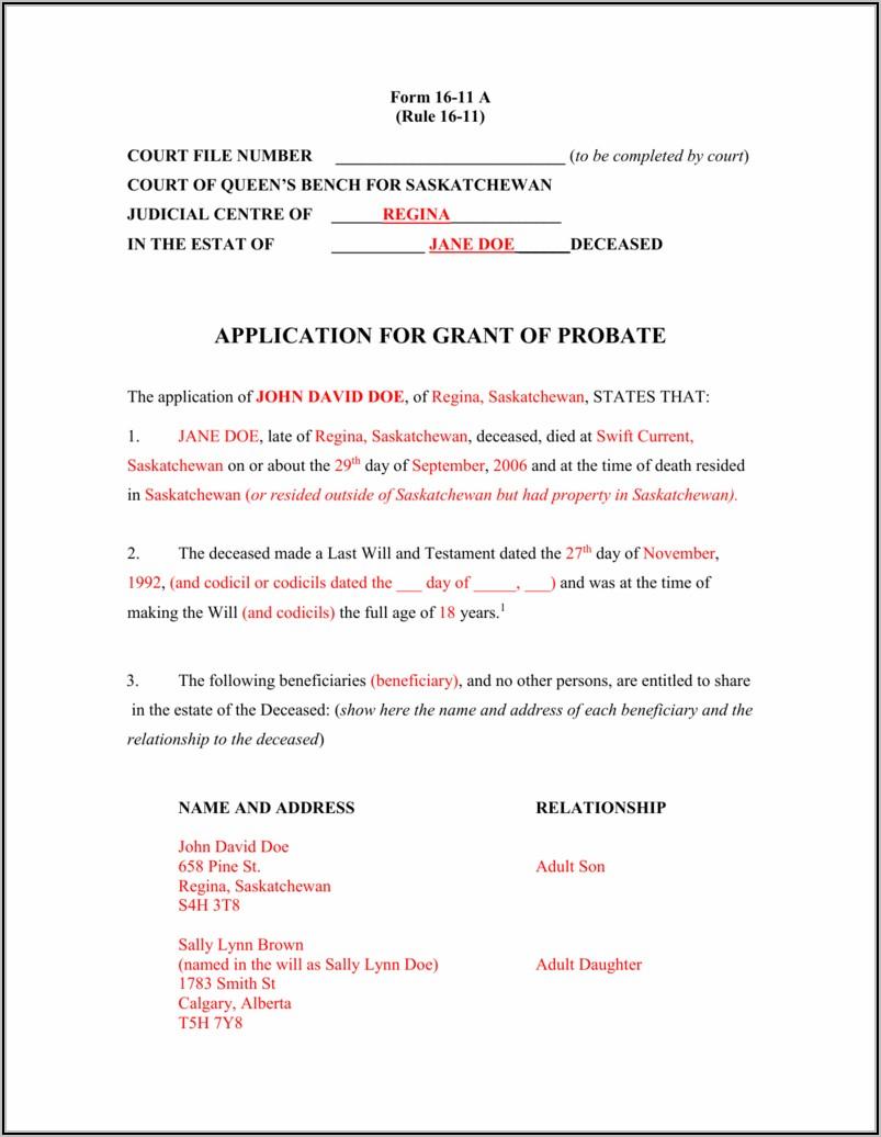 Free Codicil Form Alberta