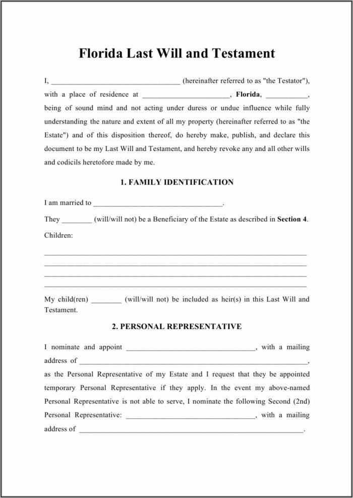 Free Codicil Form Florida