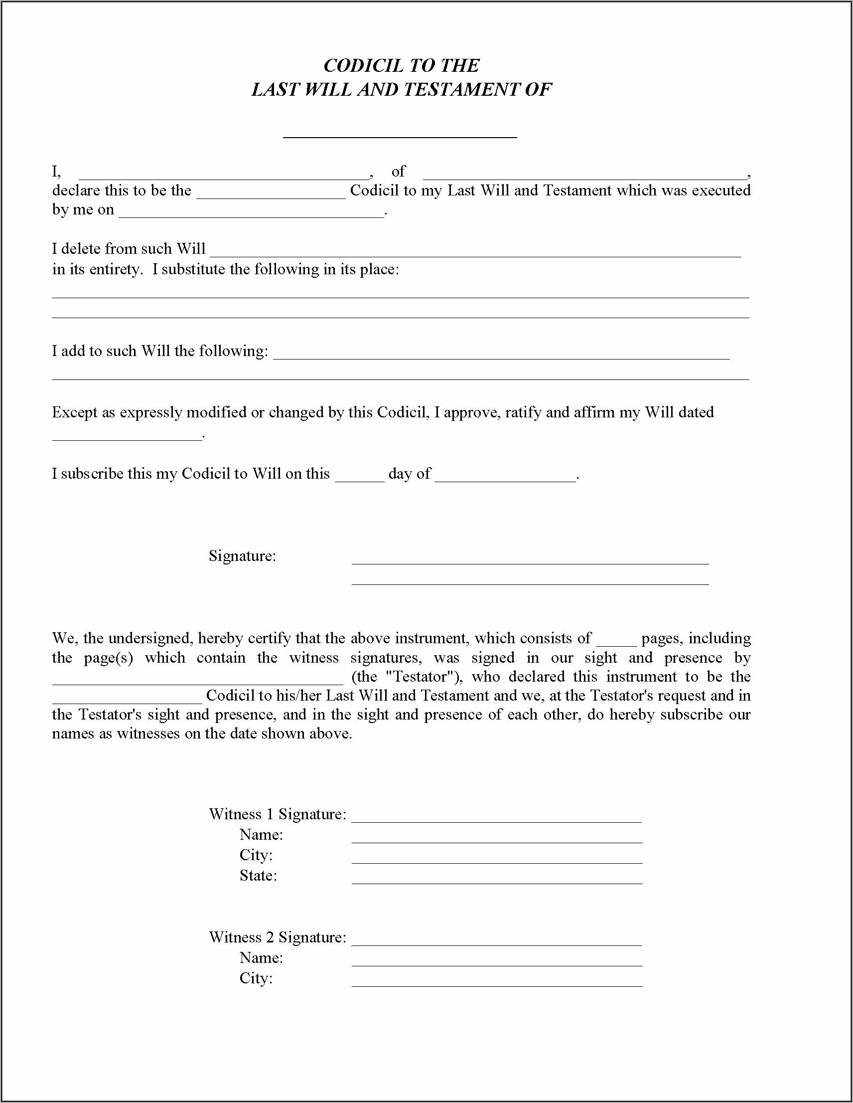 Free Codicil Form For Texas