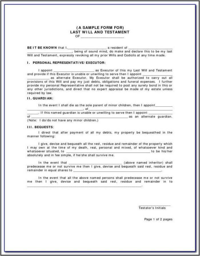Free Codicil Form Uk