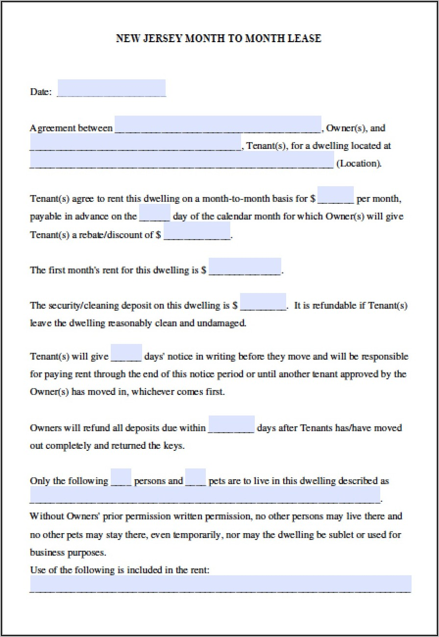 Free Commercial Lease Agreement Nj