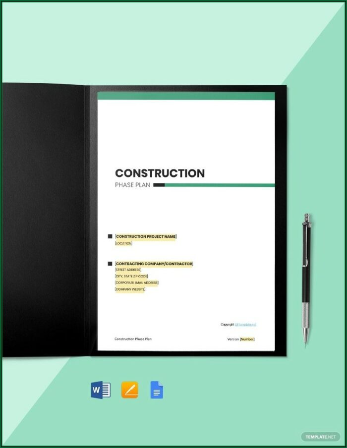 Free Construction Phase Plan Template Word