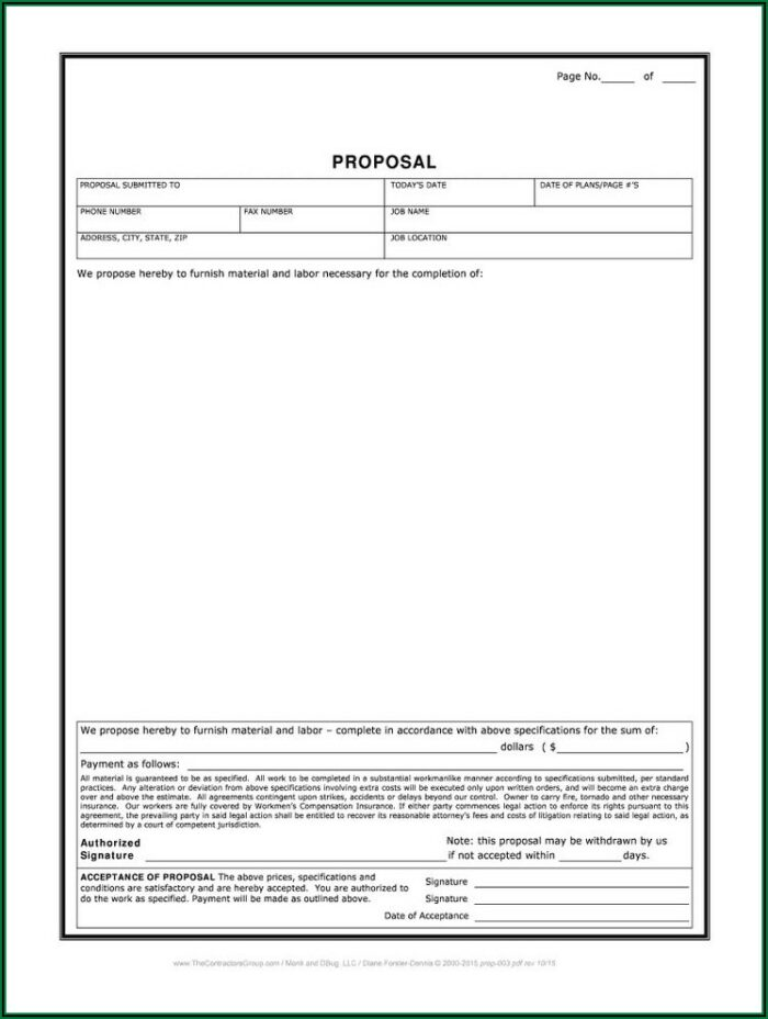 Free Construction Proposal Template Word