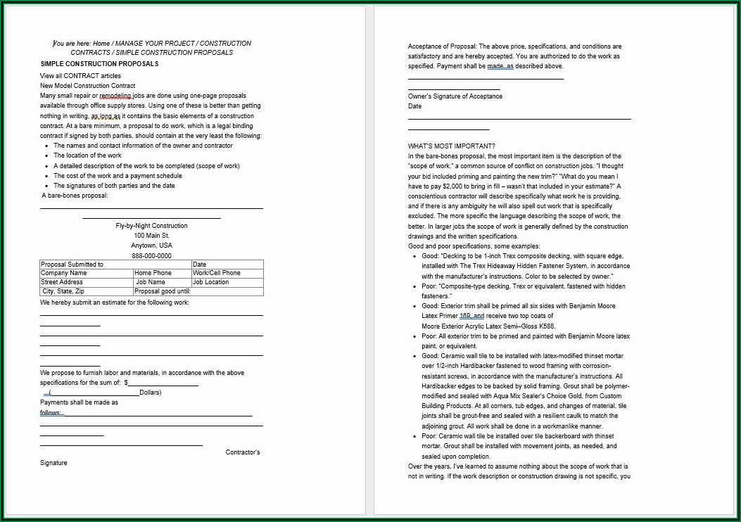 Free Contractor Proposal Template Word
