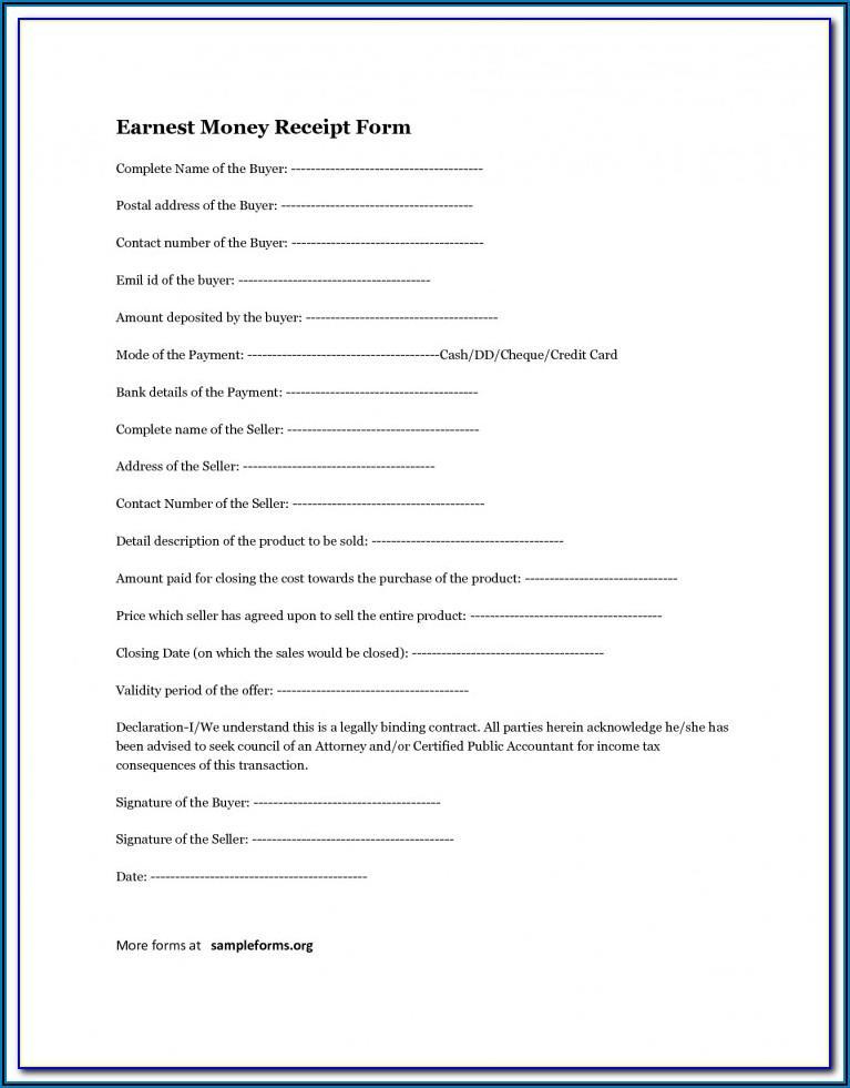 Free Earnest Money Agreement Form Oregon