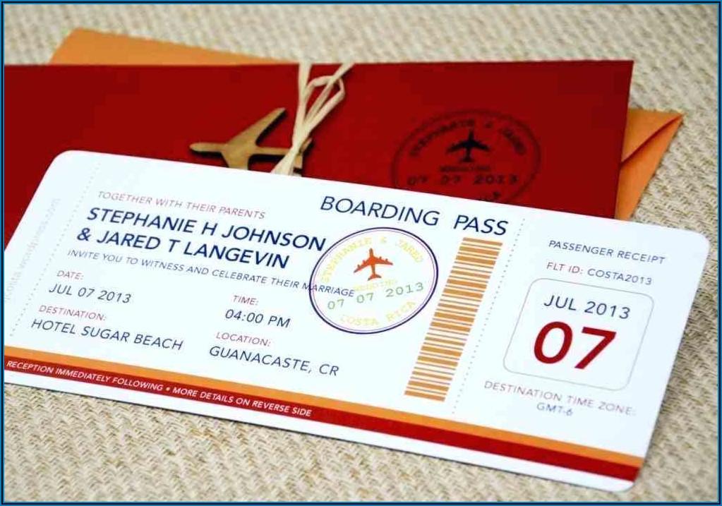 Free Editable Boarding Pass Wedding Invitation Template