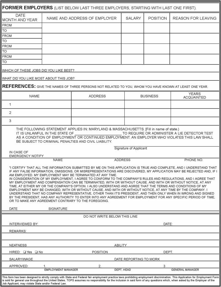 Free Employee Application Form Pdf