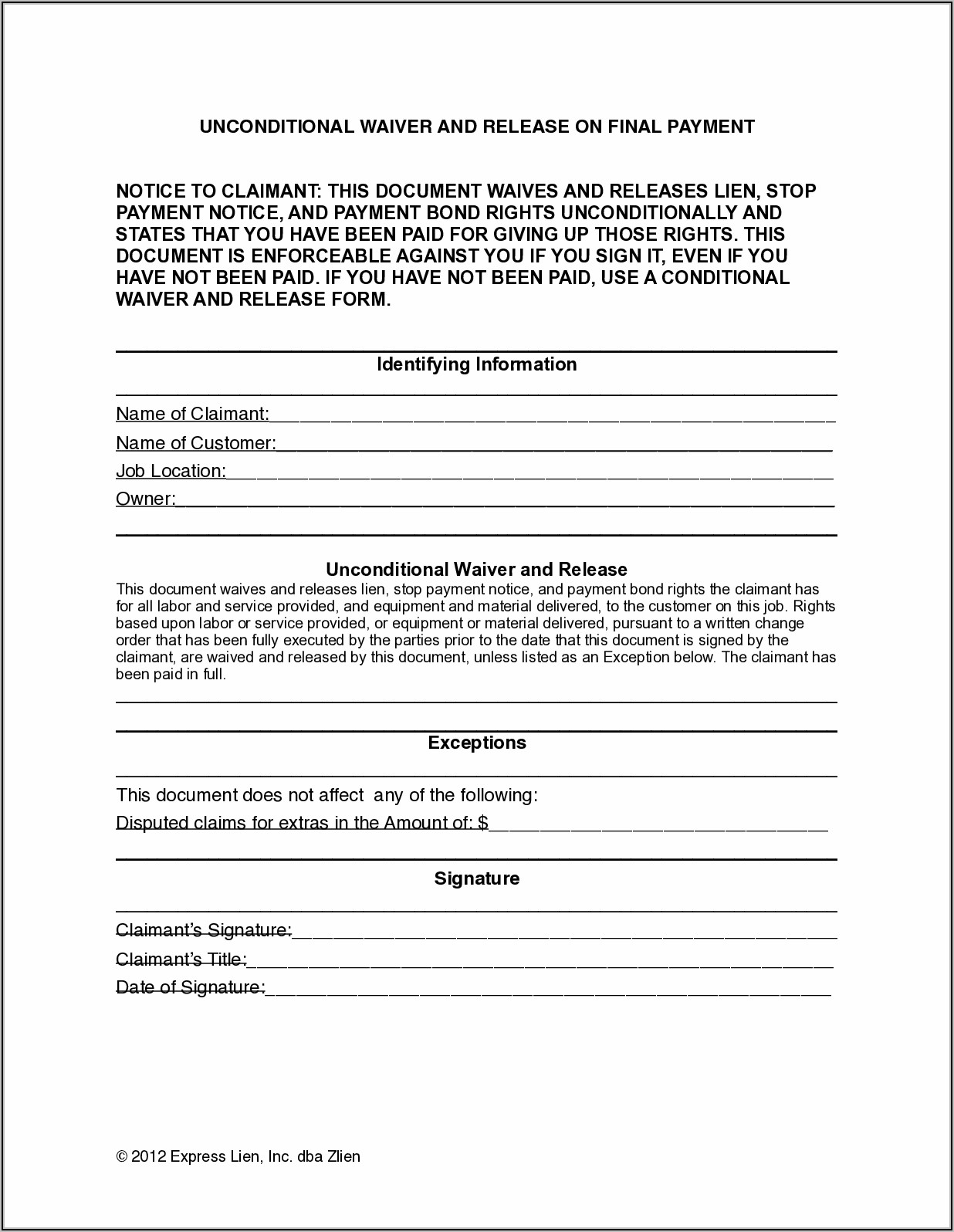 Free Lien Waiver Form Ohio