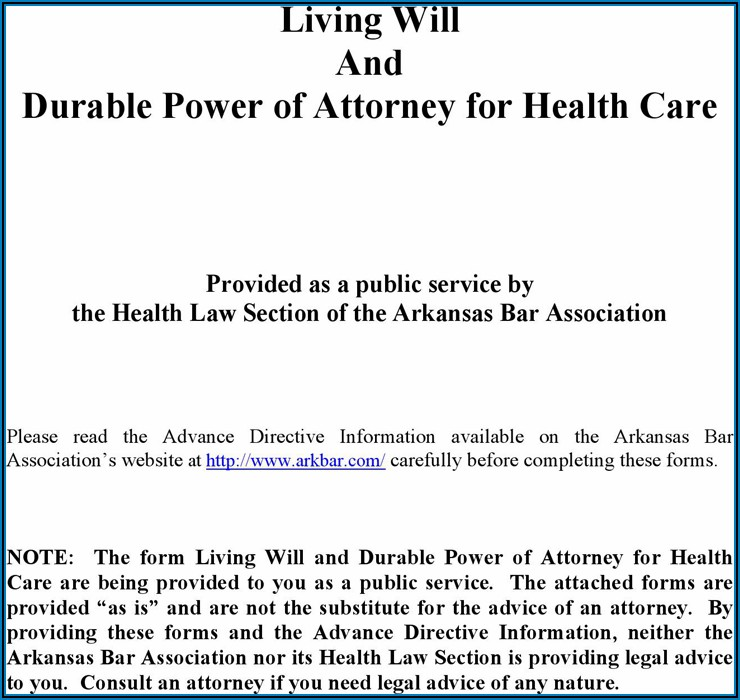 Free Living Will And Durable Power Of Attorney Forms