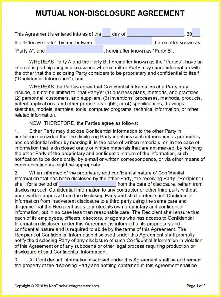 Free Non Disclosure Non Circumvention Agreement Template