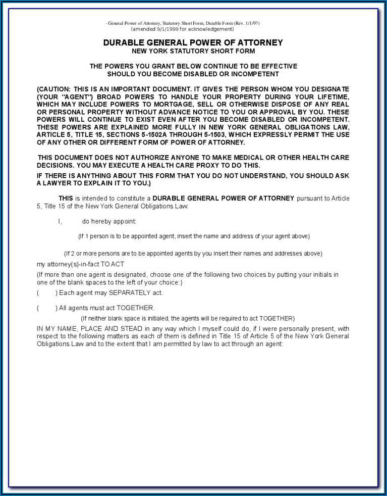 Free Ny Durable Power Of Attorney Form