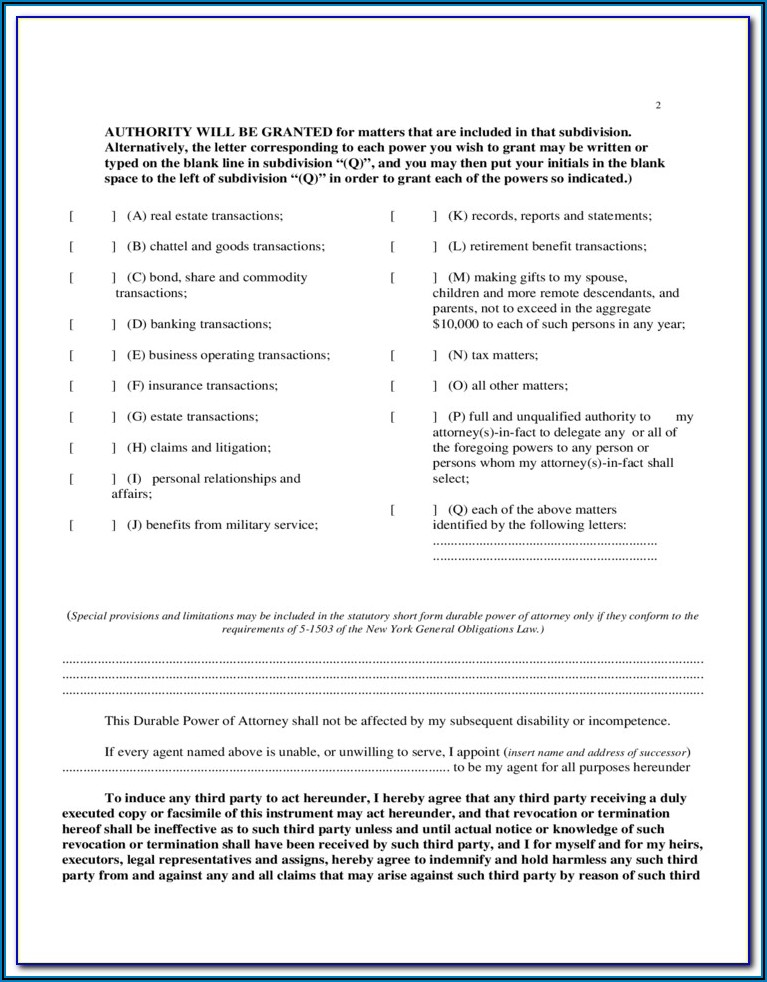 Free Nys Durable Power Of Attorney Form