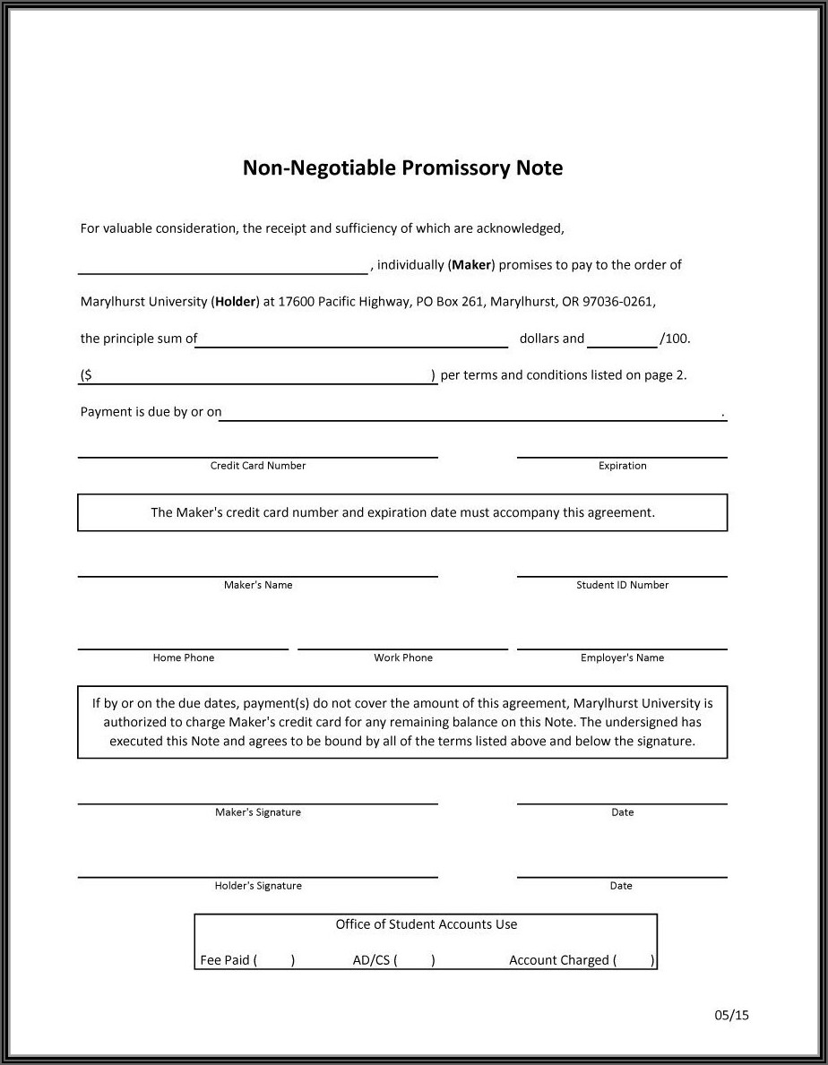 Free Personal Promissory Note Template