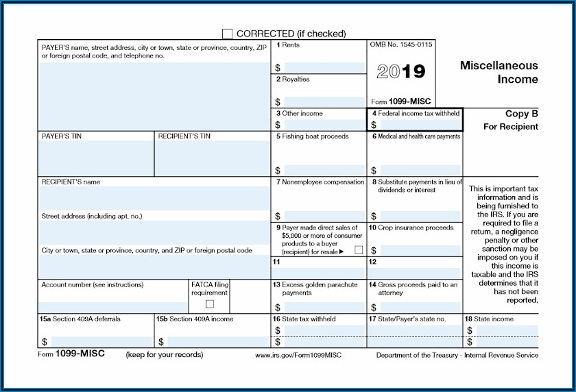 Free Printable 1099 Tax Form 2019