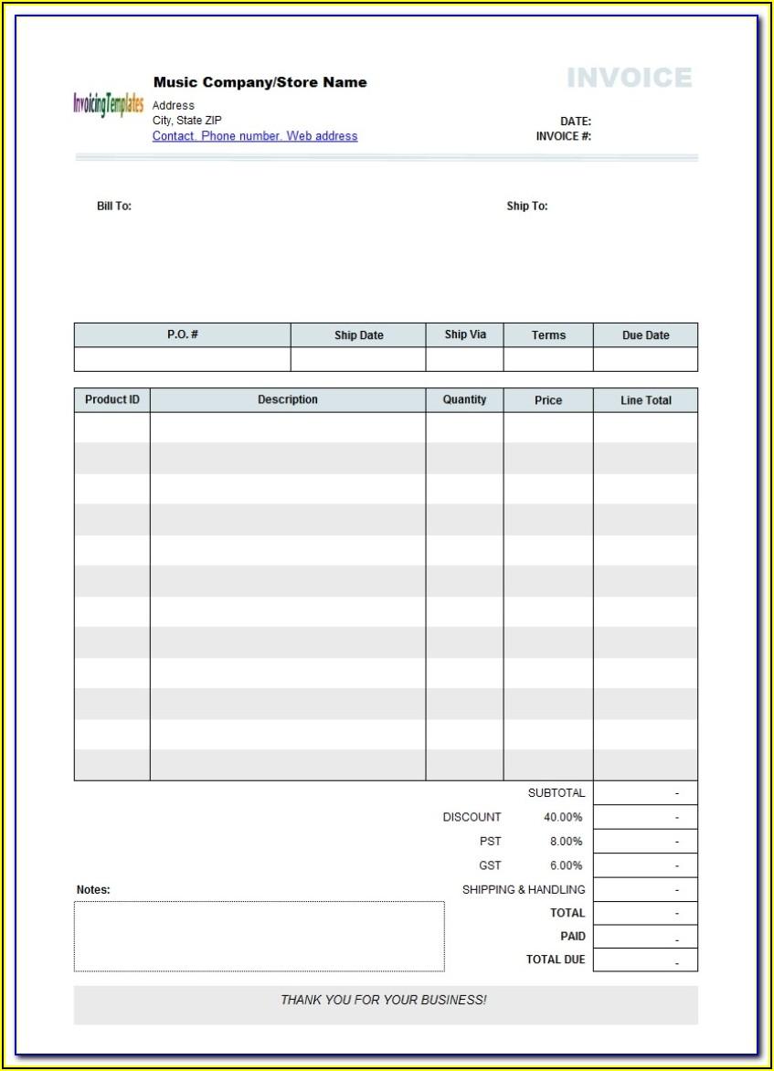 Free Printable Blank Invoice Form