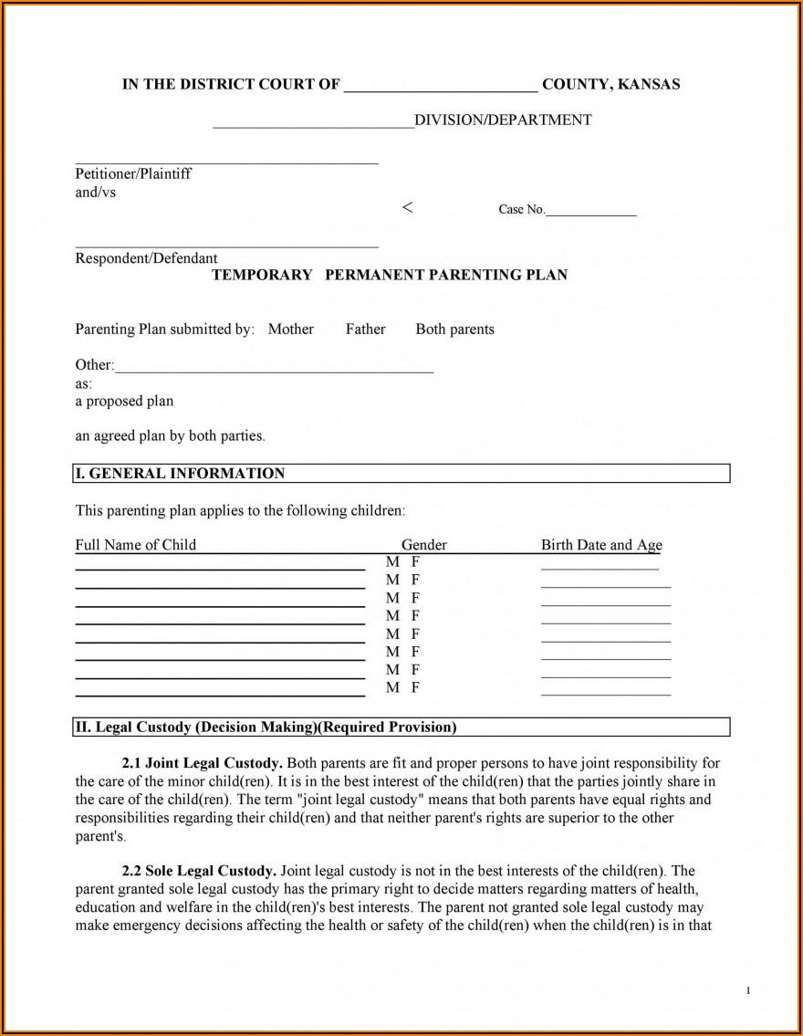 Free Printable Custody Agreement Forms