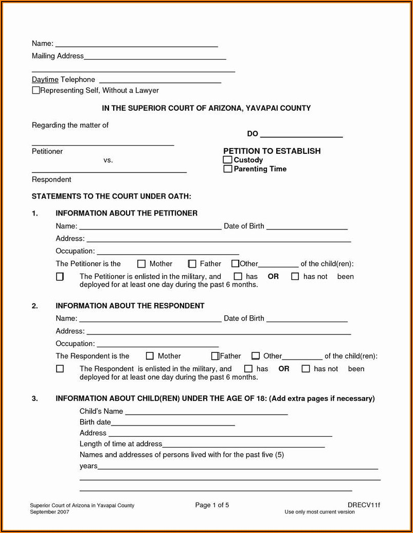Free Printable Custody Papers
