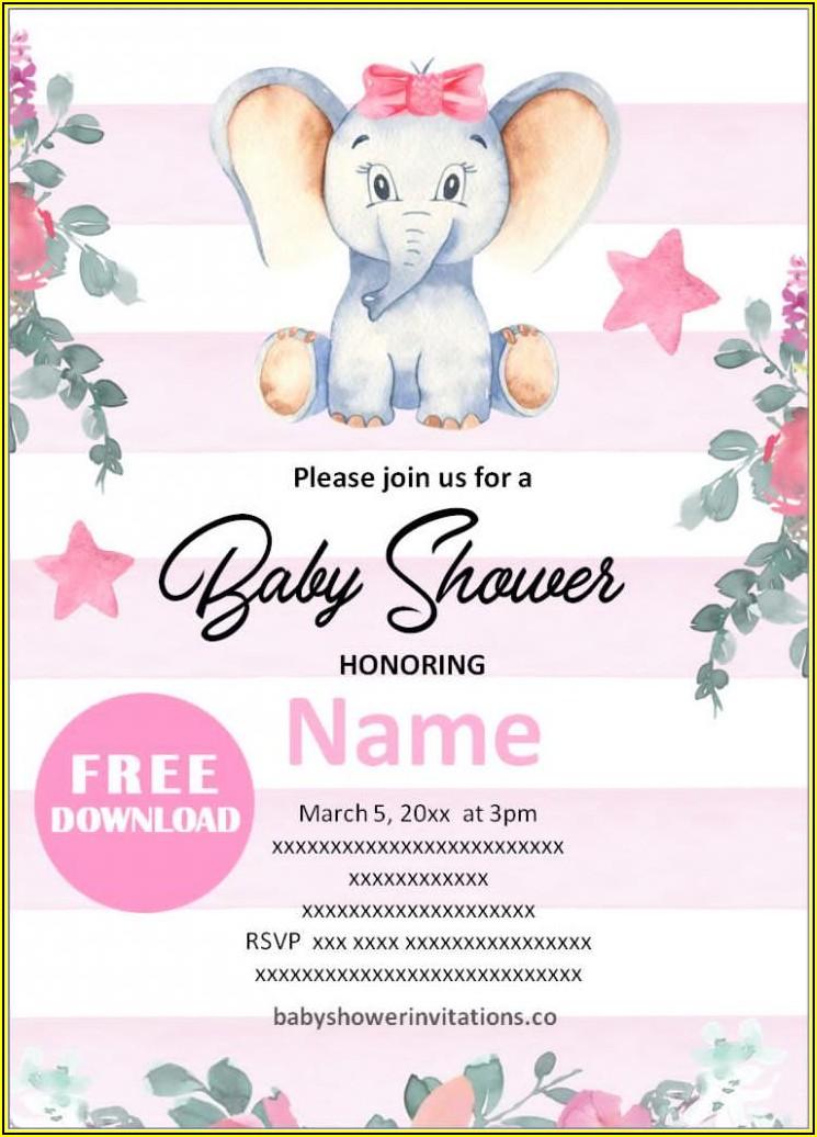 Free Printable Elephant Baby Shower Invitations Templates