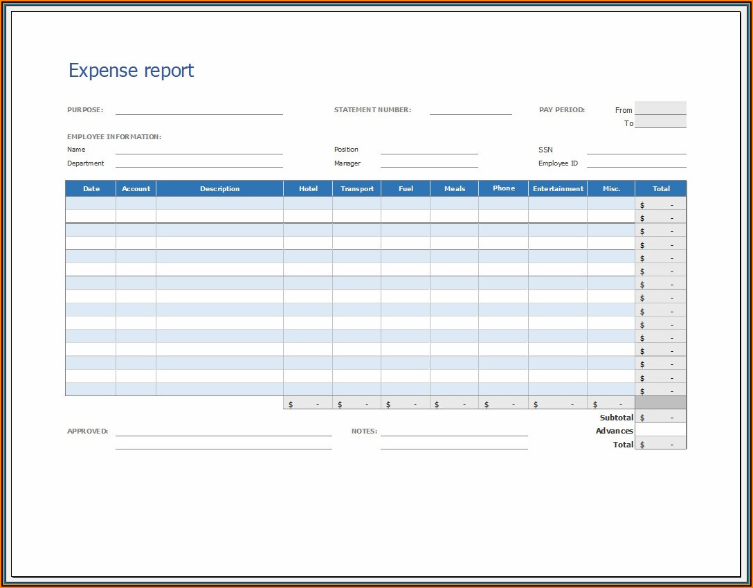 Free Printable Expense Report Template