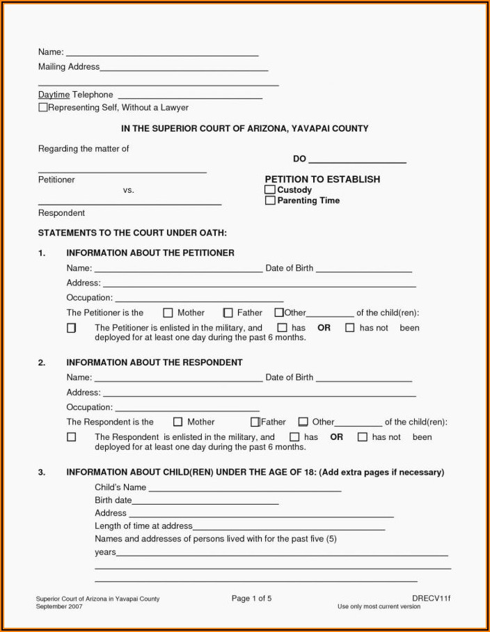 Free Printable Joint Custody Forms