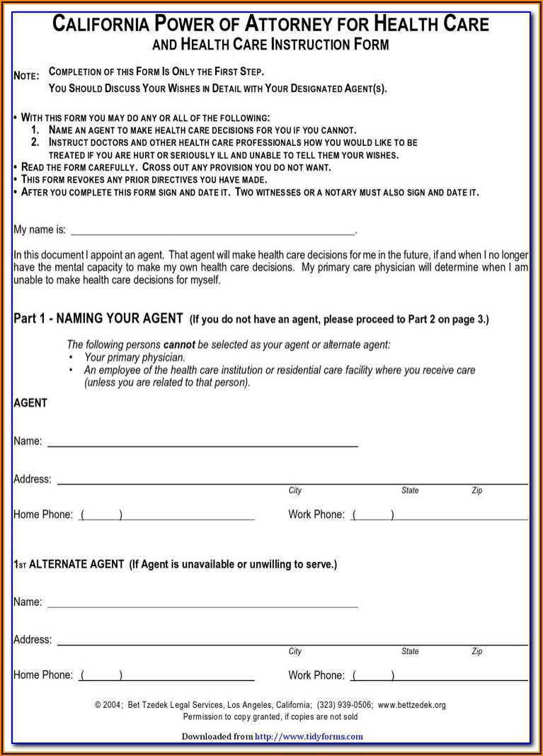 Free Printable Power Of Attorney Forms Florida